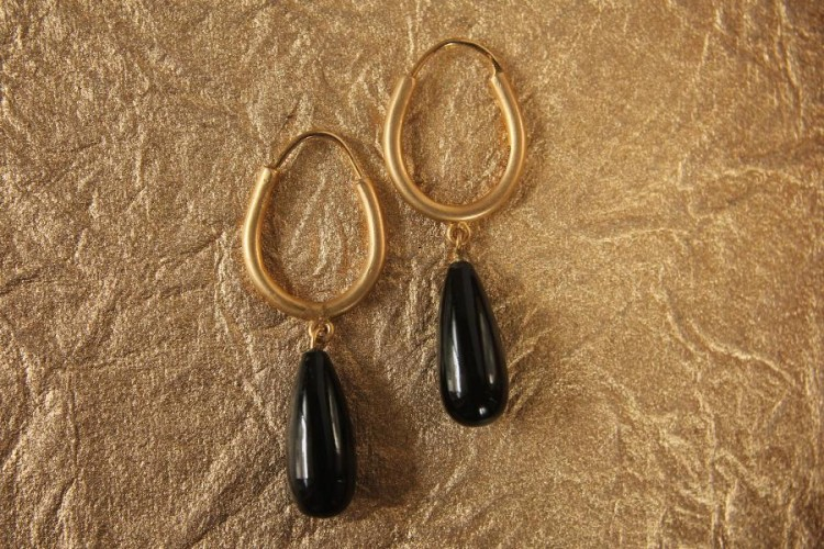 Gold Hoop Earrings with Black Onyx