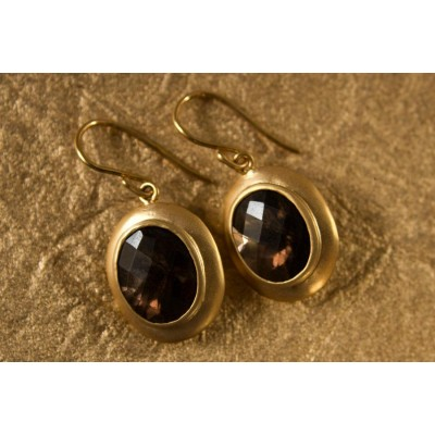 Gold Earring with Smokey Quartz
