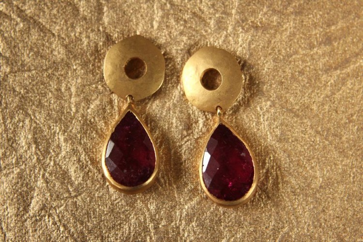 Tourmaline Pear Drops in Gold