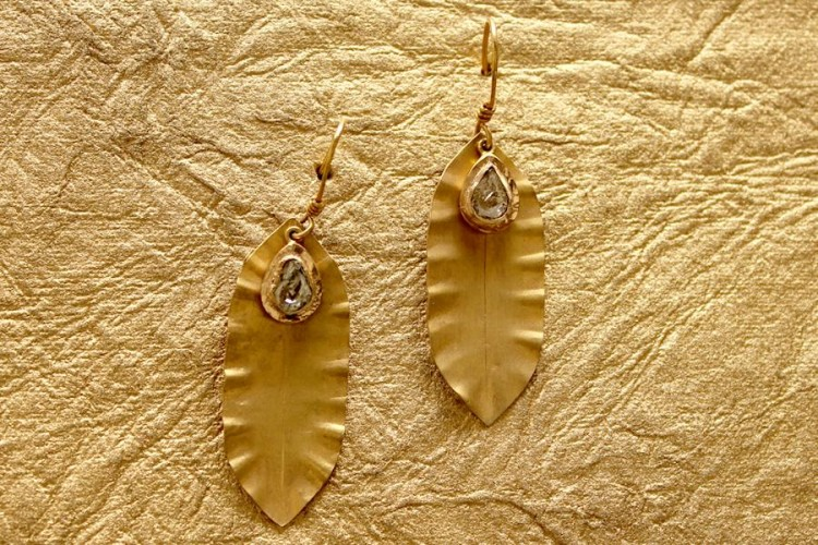 Gold Leaf Earrings with Flat Cut Diamonds