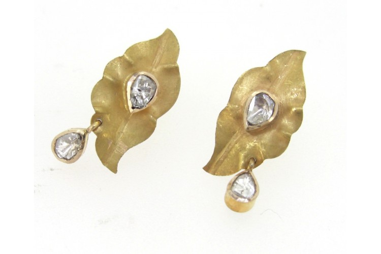 Gold Leaf Earring with Polki