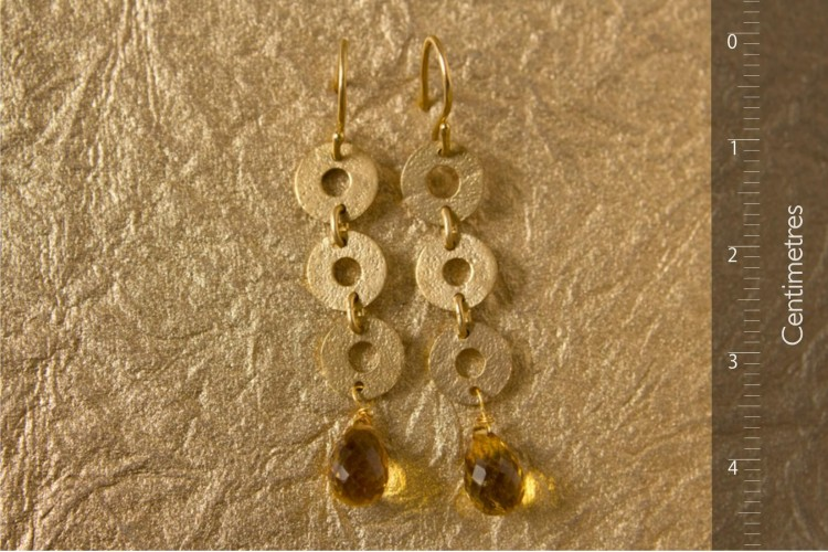 Gold Earrings with Citrine