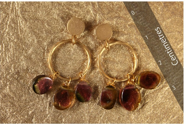 Gold Hoop Earrings with Tourmaline
