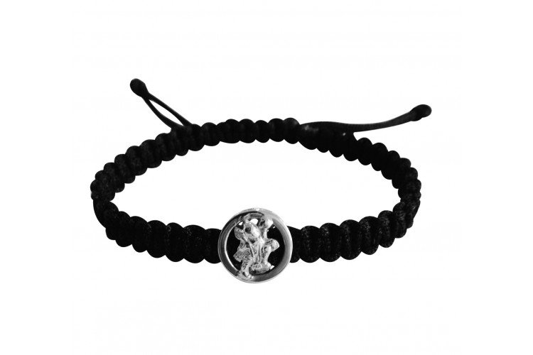 Auspicious Hanuman Bracelet for Men in Silver On Size Adjustable Nylon Thread
