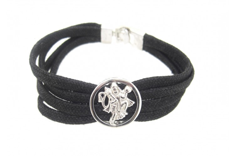 Hanuman Bracelet in Silver with Diamonds on Thread