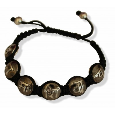 Om Namah Shivay Mantra Bracelet in Two Tone Silver Beads