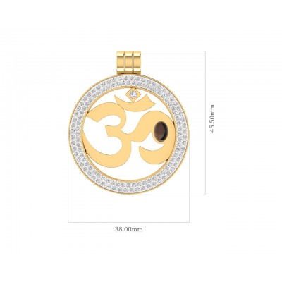 Om Gold Pendant With Diamonds