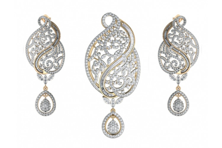 Buy alluring designer diamond pendant set online in india at best alluring designer diamond pendant set audiocablefo