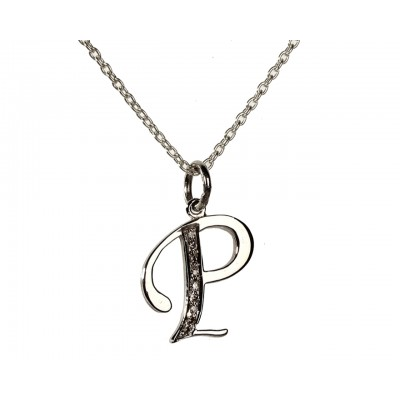 Alphabet P pendant with diamonds