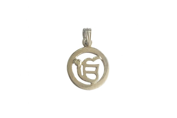 Ik onkar pendant in silver with diamond aloadofball Images
