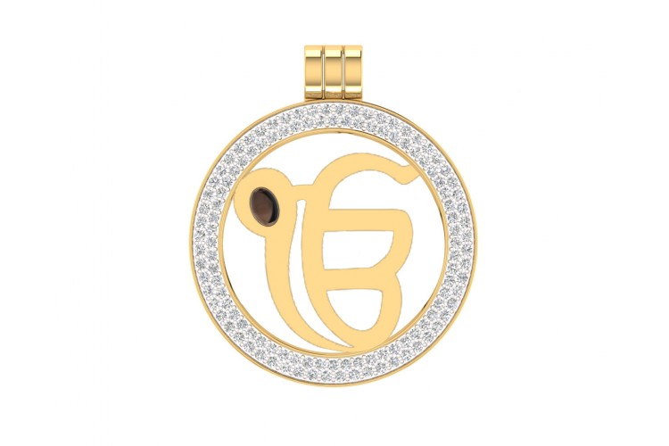 Ik Onkar Gold Pendant with Diamonds