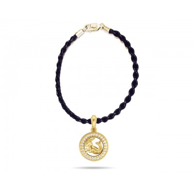 Capricorn Charm Pendant in 14K Gold with Diamonds on Leather Cord