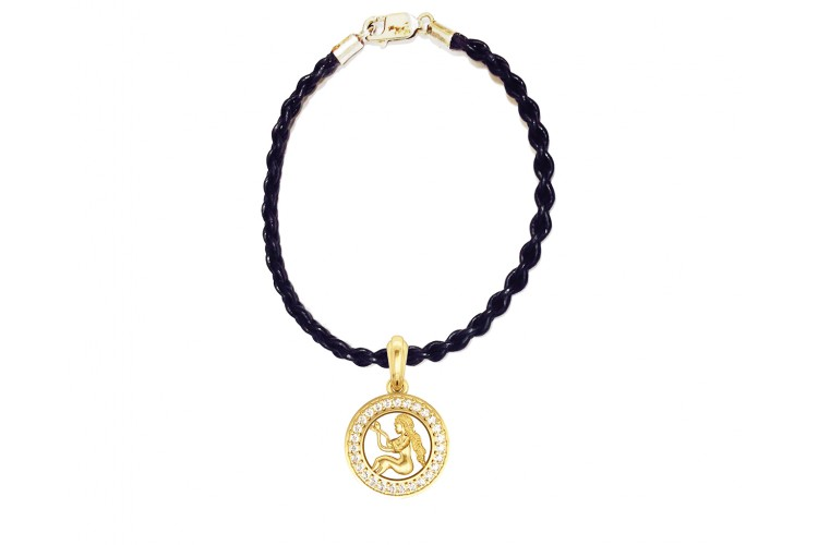 Virgo Charm Pendant in Gold with 27 Diamonds