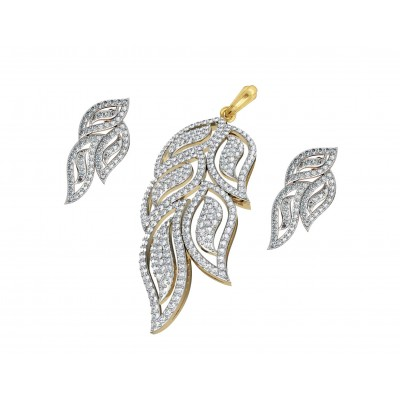Designer Diamond leaf design Pendant & earring Set