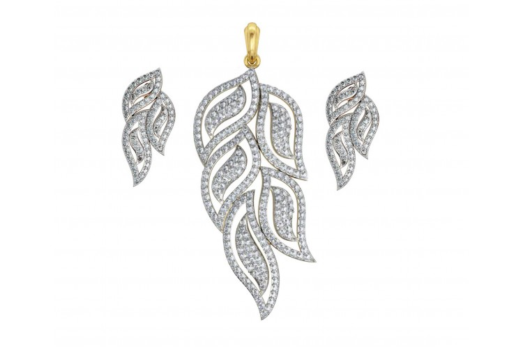 buy diamond in set earring online designer leaf design pendant