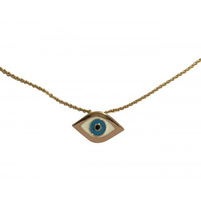 Evil Eye Charm Pendant in 14k gold on fine thin Gold Chain with adjustable lock