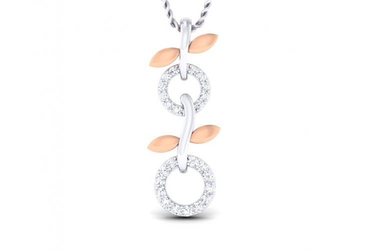 Paula Two tone 18k white & rose gold pendant with diamonds