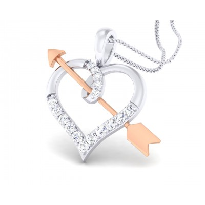 Cupid's Arrow Heart Pendant in two tone 18k gold with diamonds