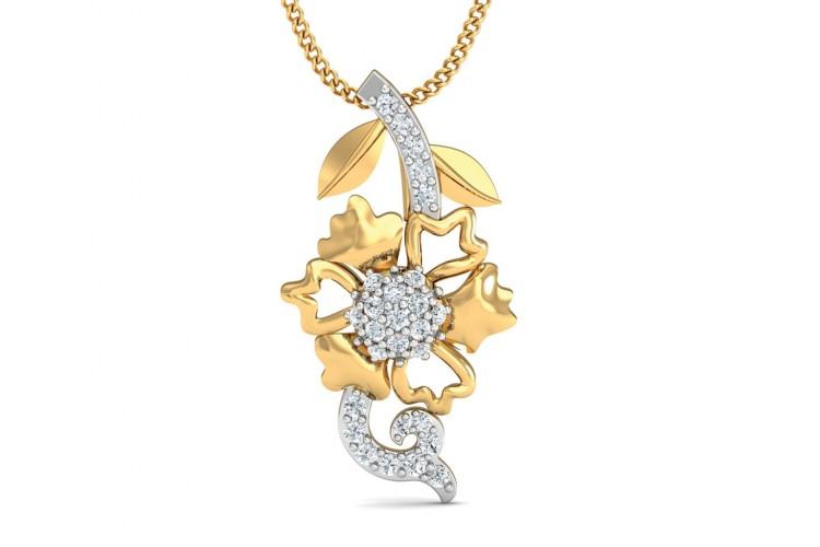 Flora diamond pendant in 14k gold aloadofball Images