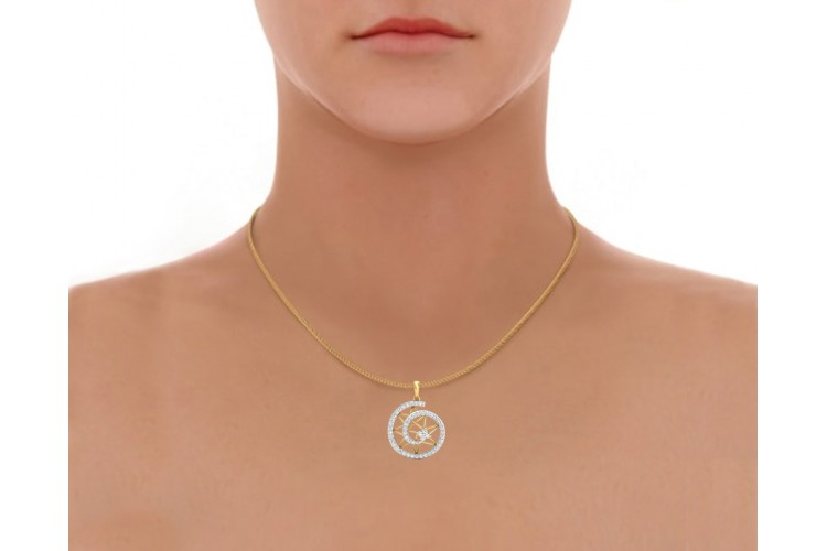 Astra Diamond pendant in 14k hallmarked Gold