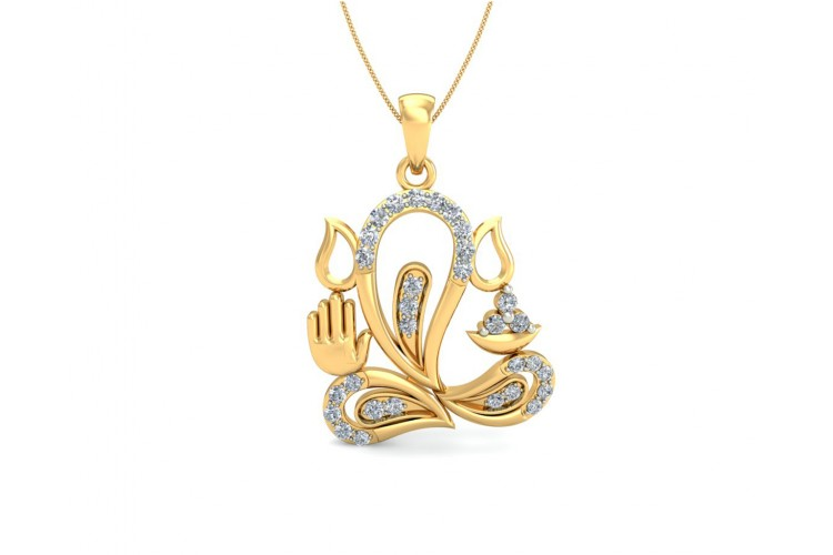 Ganesh diamond pendant in 14k gold aloadofball Gallery