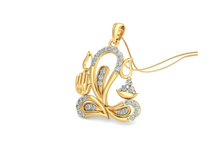 Ganesh Diamond Pendant in 14k gold