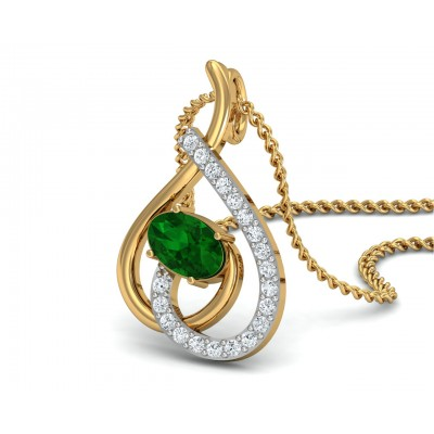 Sely Emerald & diamond pendant in hallmarked gold