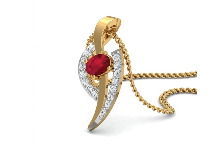 Tory Ruby & Diamond Pendant in Gold