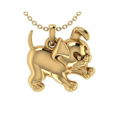 Adorable Puppy Charm in Gold