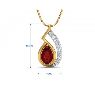 Wila Ruby & diamond Pendant in Gold