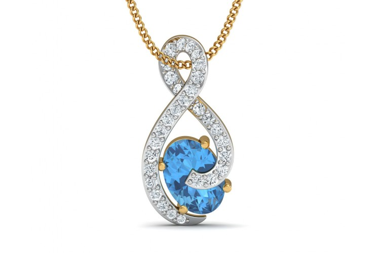 Adina Blue Topaz & Diamond Pendant