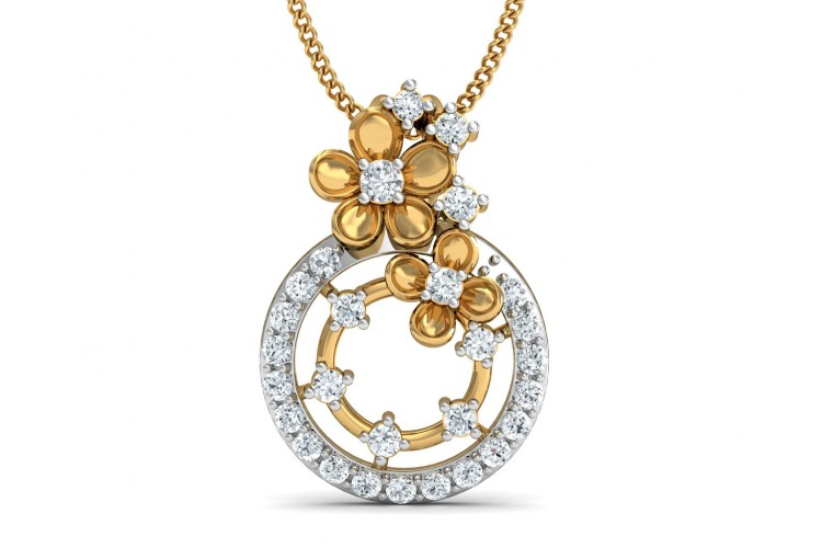necklace tw lotus white earth gold diamond top brilliant flower pendant ct