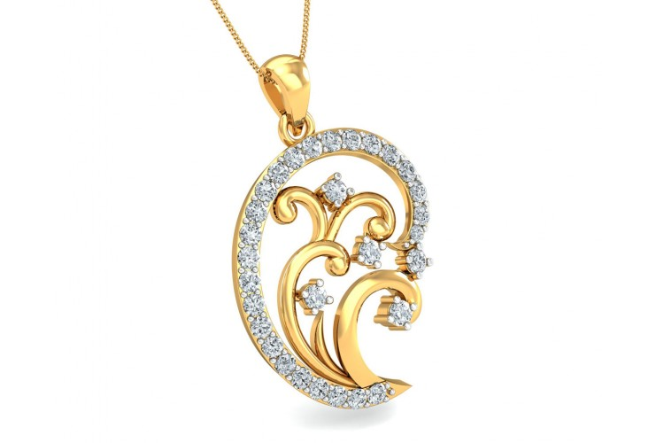 Nawra Diamond Pendant in Gold