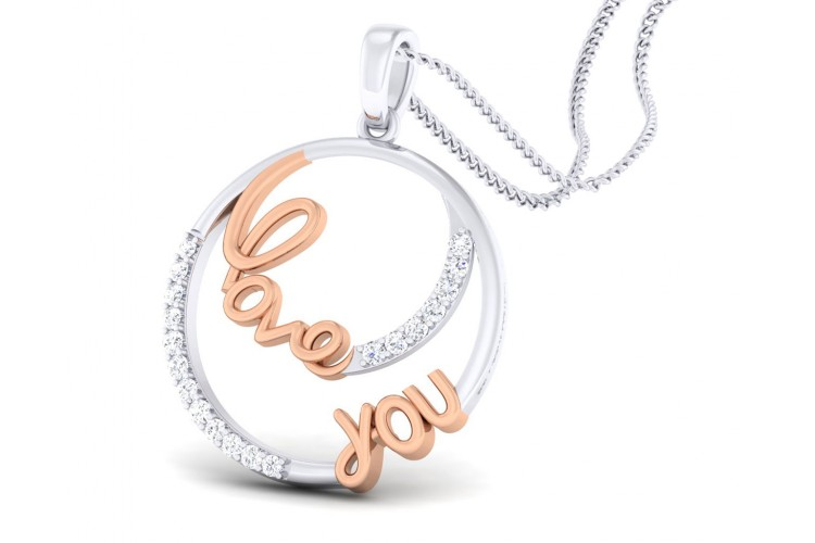 Love You diamond Pendant in Gold