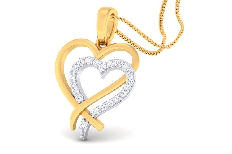 Caron diamond Heart Pendant in Gold