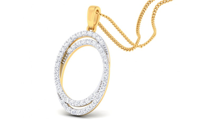 Carmon Diamond Oval Pendant