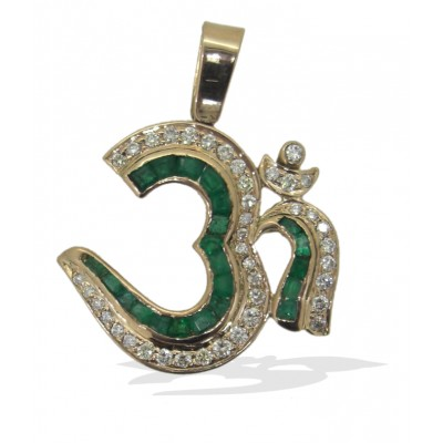 Om Pendant in Gold with Emeralds and Diamonds