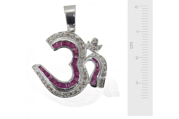 Om Pendant with Rubies and Diamonds