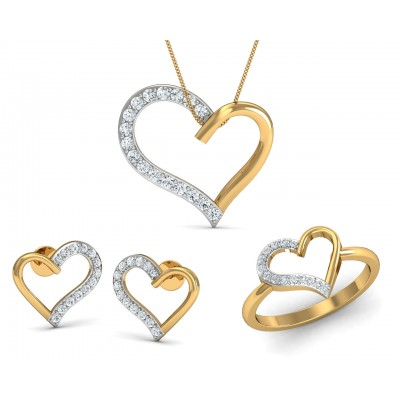 Amia diamond heart Pendant Set