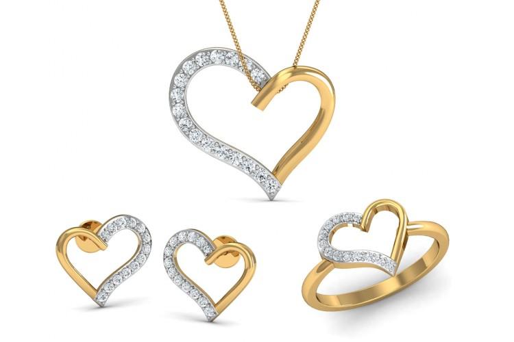 Buy amia diamond heart pendant setendear jewelleryjewelslane amia diamond heart pendant set aloadofball Images