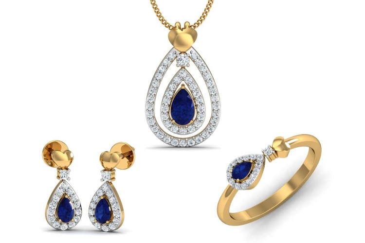 Anchita Sapphire Diamond Pendant Set