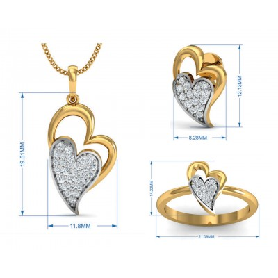 Carys Heart Pendant Set