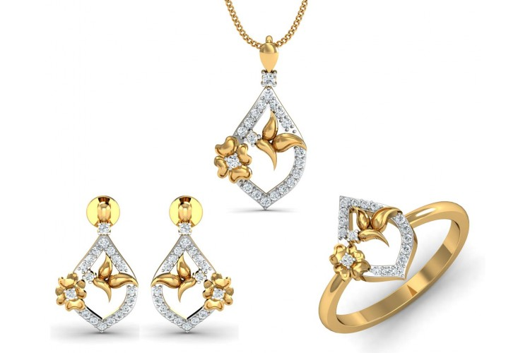 Nitya Delicate Diamond Pendant Set