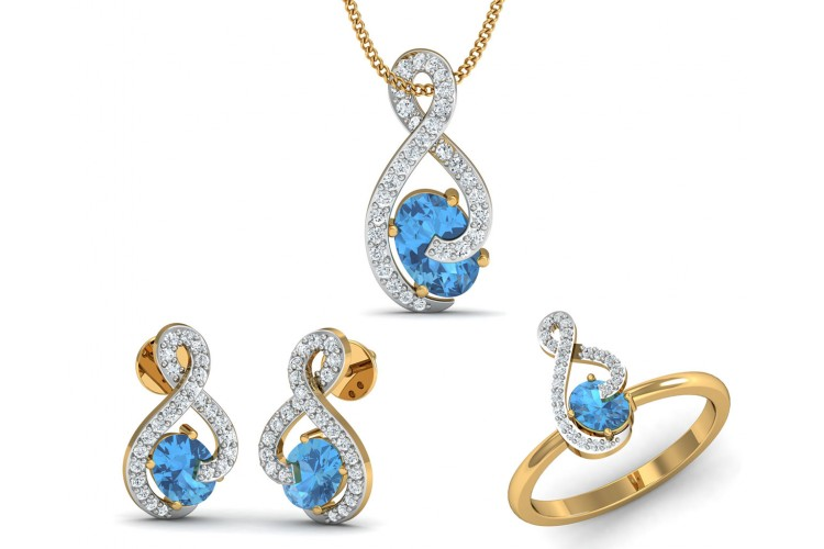 Adina Blue Topaz & Diamond Pendant Set