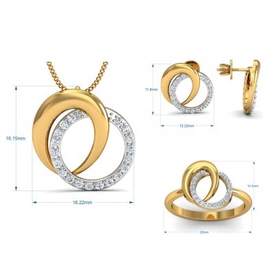 Aheli Diamond Pendant Set