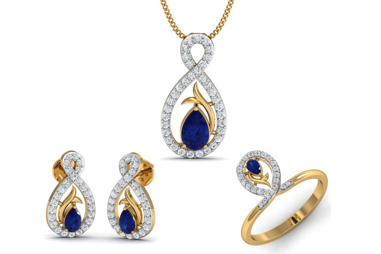 Buy tarini blue sapphire diamond pendant set endear jewellery tarini blue sapphire diamond pendant set aloadofball Image collections
