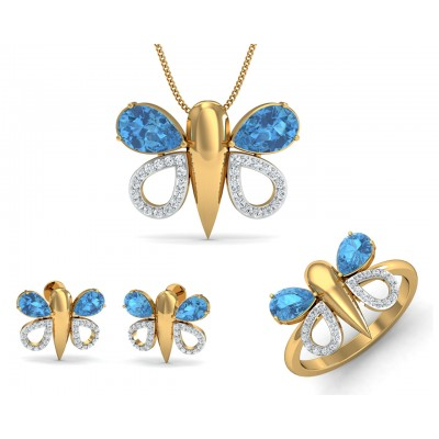 Asmara Blue Topaz & Diamond Pendant set