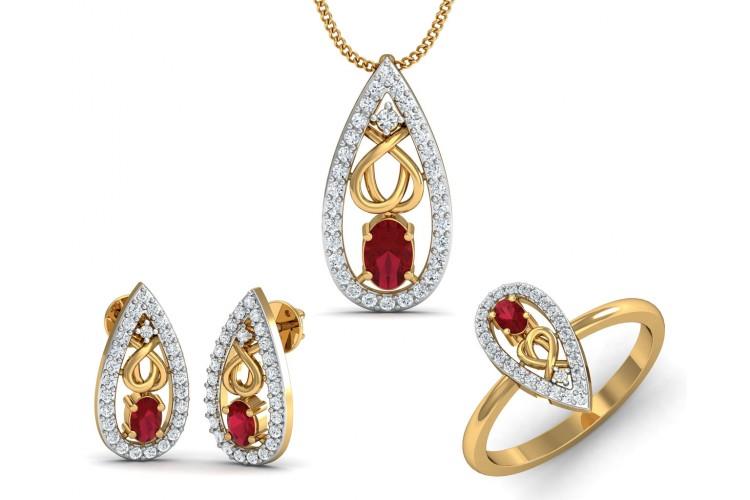 Buy ishani ruby diamond pendant set endear jewellery ishani ruby diamond pendant set aloadofball Image collections