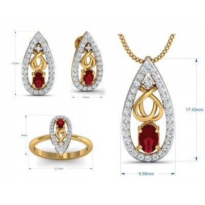 Ishani Ruby & Diamond Pendant Set