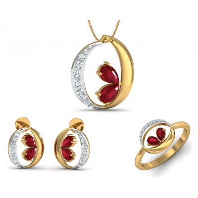 Chiti Ruby Diamond Pendant Set